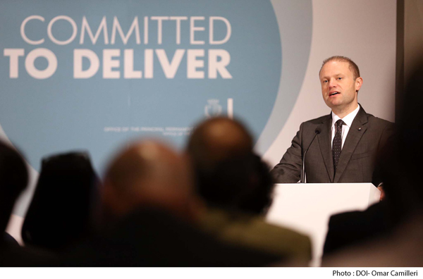 Dr Joseph Muscat talking regards the progress made and to the culture change